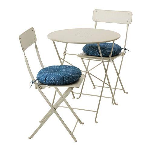 Sedie Pieghevoli In Legno Ikea.Saltholmen Tavolo 2 Sedie Pieghevoli Giardino Beige Mobili Da