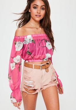 Pink Bardot Floral Mesh Crop Top