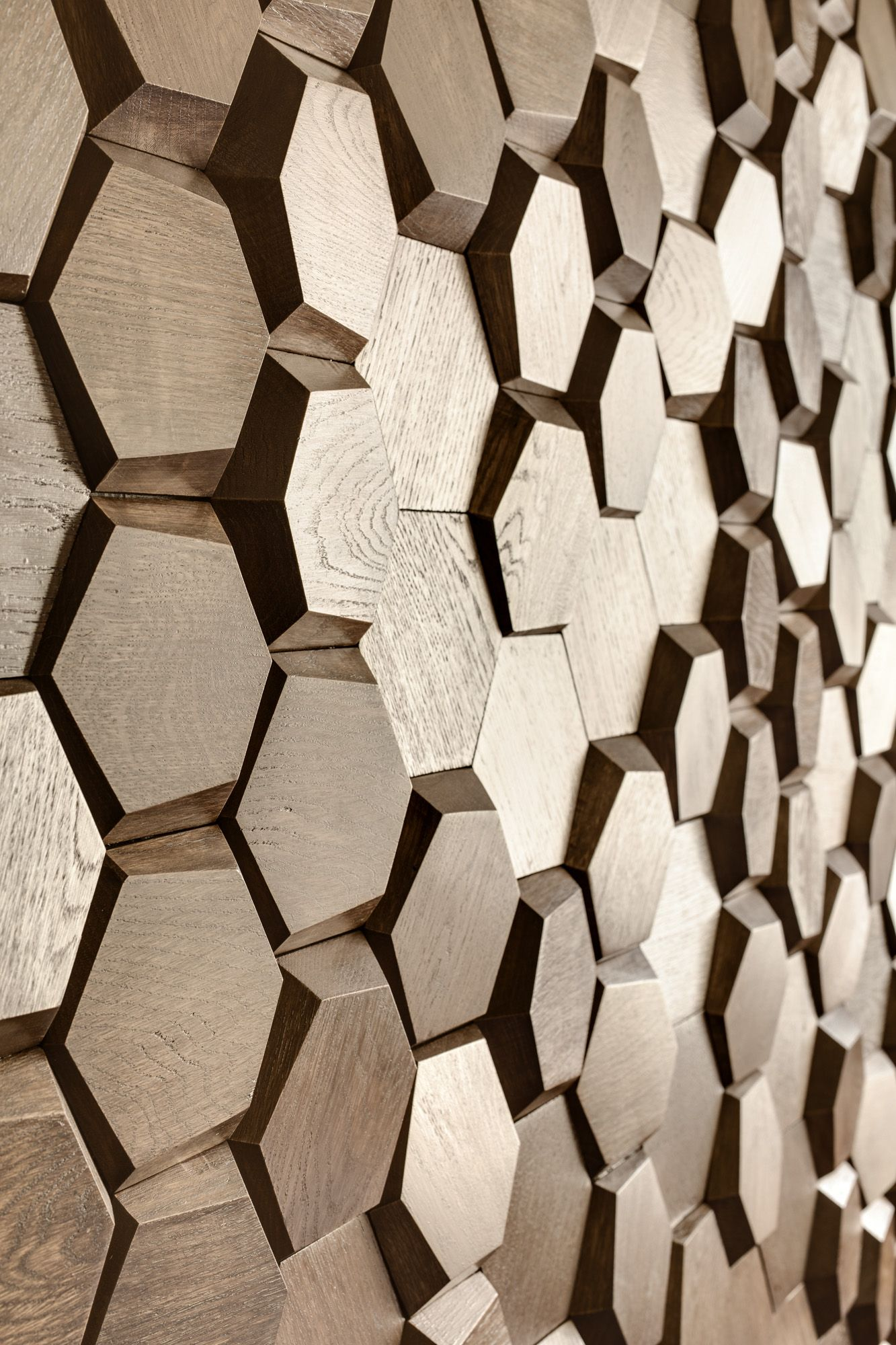 Voluminous And Flat Hexagons Mosaic Honey Recreate The Panels In The Shape And Texture Of The Honeycomb Wooden Wall Panels Hexagonal Mosaic Wooden Wall Decor