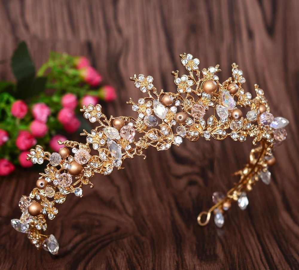 New fashion magnificent pearl crystal bridal crown tiaras classic