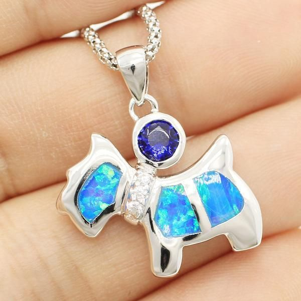 Beautiful Dog Blue Fire Opal Necklace- 925 Sterling Silver
