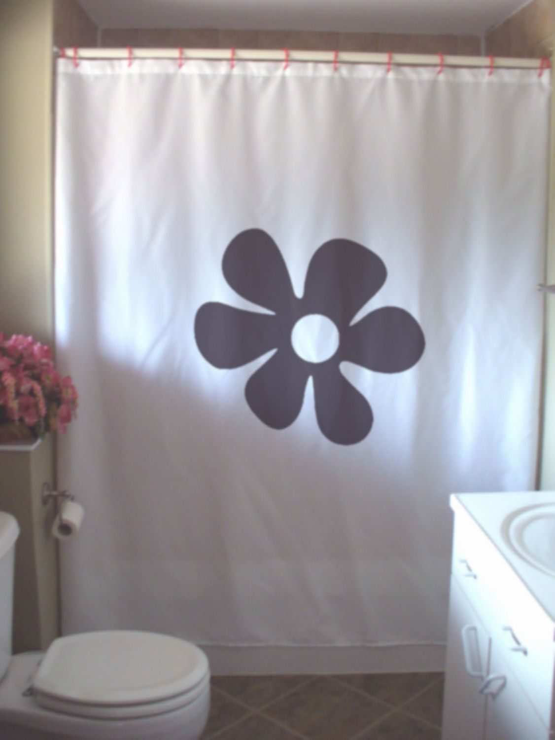 Items Similar To Flower Power Shower Curtain Hippy Sixties Style Retro Free  Love Peace Bathroom Bath Kids Curtains Custom Size Long Wide Hand Painted  On ...