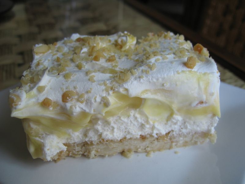 Banana Cream Delight  My mom makes this and it is the ultimate banana pudding!