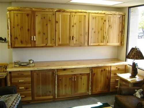 Rustic Cedar Log Kitchen Cabinets For The Home Kitchen Cabinets