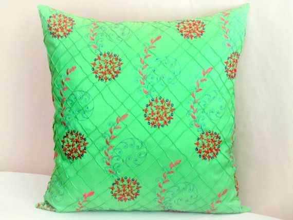 Green Silk Pleated Pillow Covers Floral Embroidery Cushion
