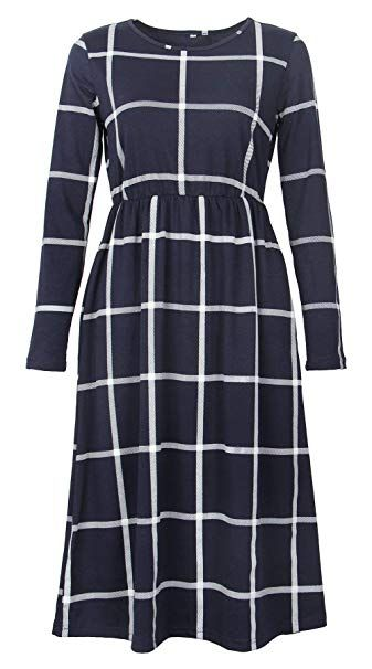2715a855dd8 PRIMODA Women s Long Sleeve Grid Tunic Midi Dress Casual Empire Waist Plaid Knee  Length Dresses with
