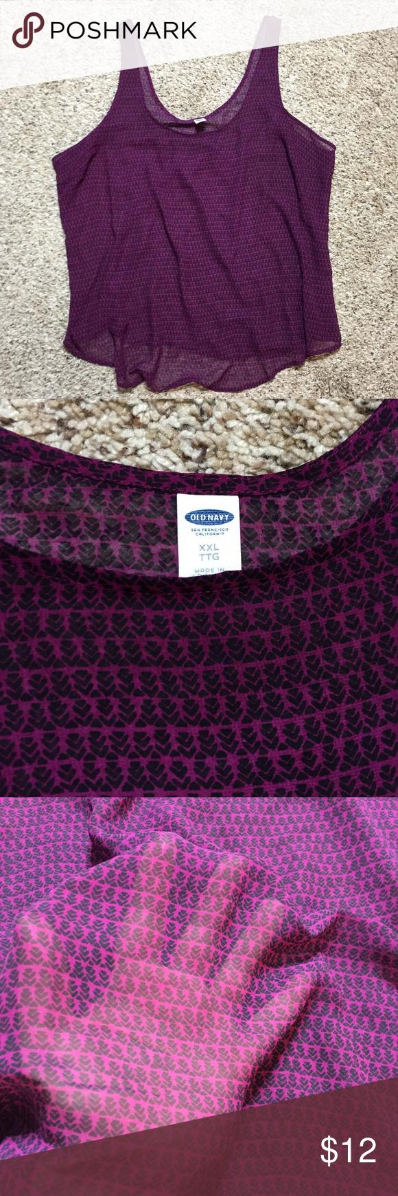 Old Navy sheer chiffon tank top Beautiful purple top with heart print. Sheer chiffon fabric. Old Navy Tops