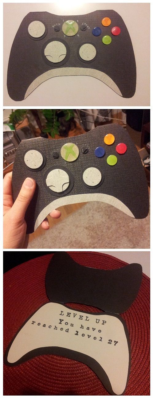 Xbox ohjain -kortti isoveljelle. :) I made this Xbox controller card for my brother that turned 27 years. I found my inspiration and the shape of the controller here: http://snippetsbydesign.blogspot.ca/2013/10/craft-fair-highlights-and-birthday.html