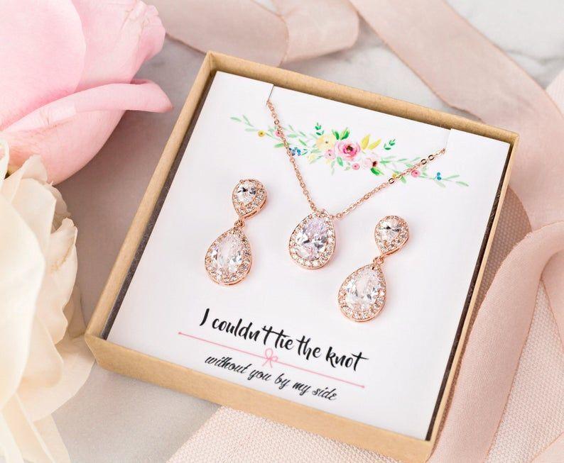 Bridesmaid Jewelry Set Rose Gold Wedding Jewelry Set Earring Etsy In 2020 Rose Gold Wedding Jewelry Silver Bridal Jewellery Rose Gold Bridal Jewelry