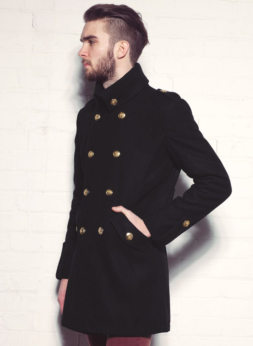 Men&39s Long Wool Military Jacket with Gold Buttons | Long coat
