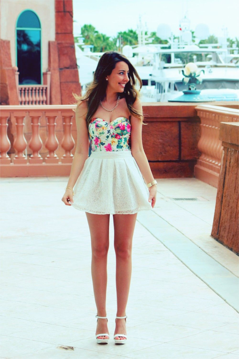 Stalk My Style Floral Bustier u0026 White Lace Mini | Lace Skater skirts and Skirts