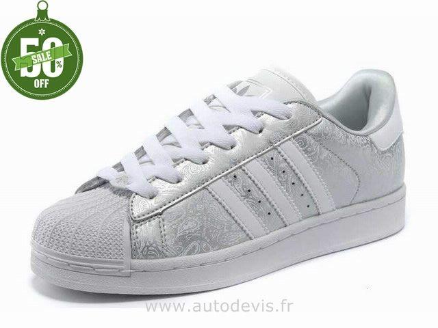 chaussures adidas superstar ii gribouillage argent