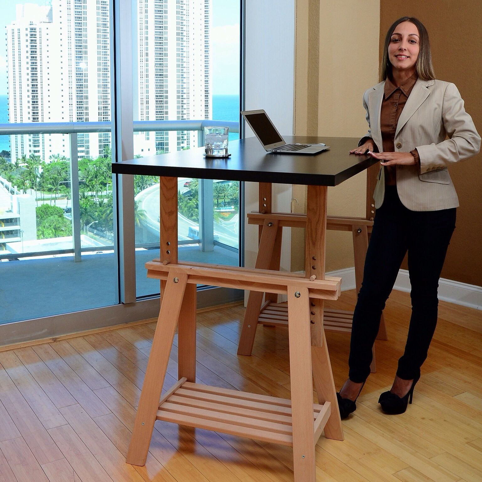 The Finnvard Adjule Standing Desk Requires Two Trestles Plus An Ikea Linnmon Tabletop In