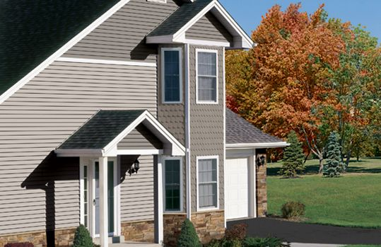 Driftwood Oracle Featuring Greystone Half Round Portsmouth Shake And Stone Accents House Exterior Vinyl Siding Styles Siding Styles