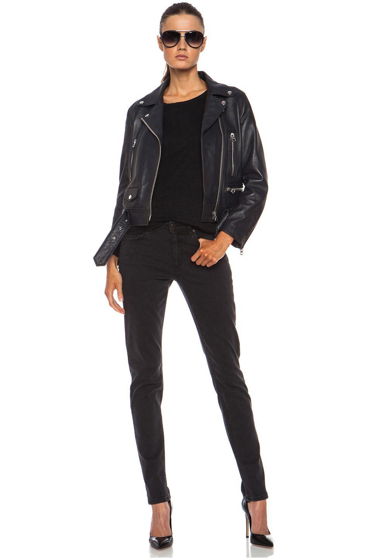 Acne Studios Mock Leather Jacket in Steel Grey   FWRD [6