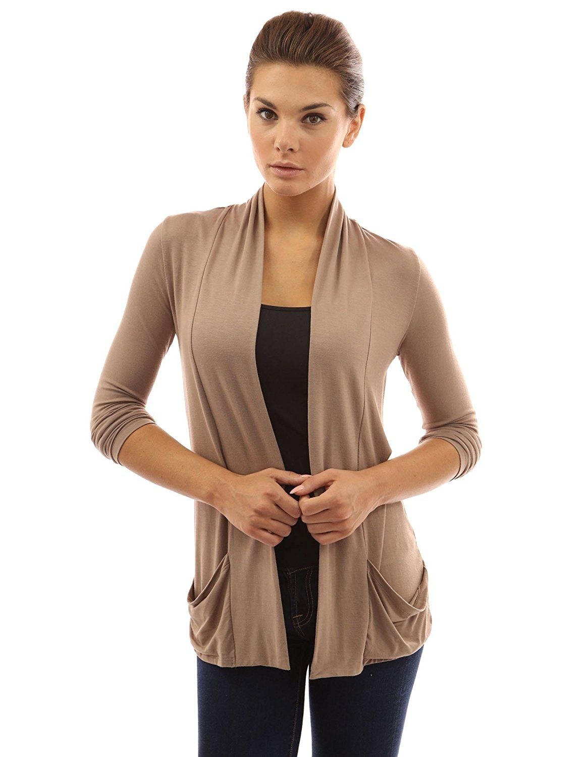 91c7ed8bbed PattyBoutik Women s Open Front Pockets Cardigan at Amazon Women s Clothing  store