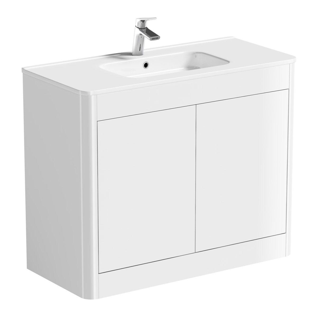 Mode Carter White Floorstanding Vanity Unit And Ceramic Basin 1000mm Basin Vanity Unit Vanity Units Bathroom Vanity Units