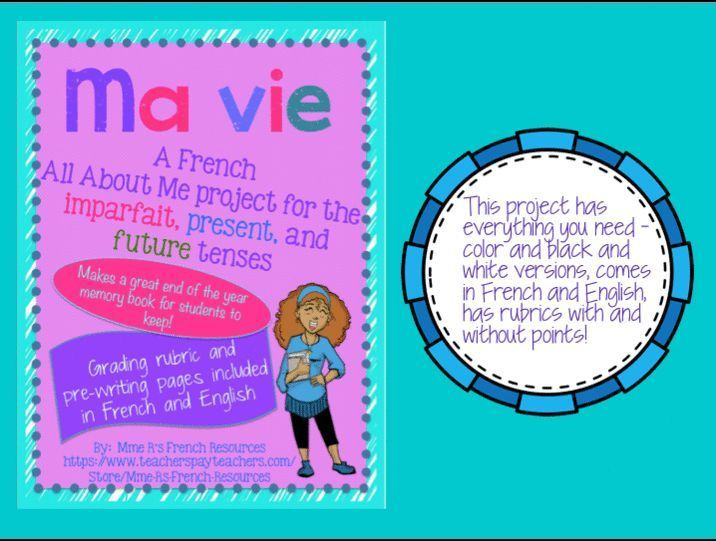Do you need a fun all about me French project for the present, imparfait, and future tenses? This is great at any time of the year after your students have learned the imparfait and the futur simple. Makes a great memory book or fun project for advanced learners! Students create a book about themselves, detailing who they were when they were younger, who they are now, and who they will be as an adult.