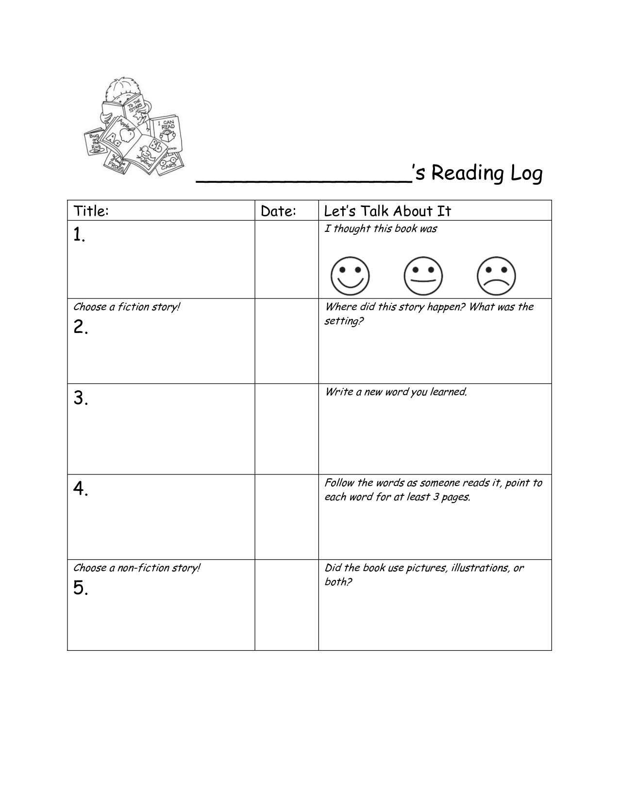 kindergarten+book+log   Kindergarten Reading Log Common Core ...