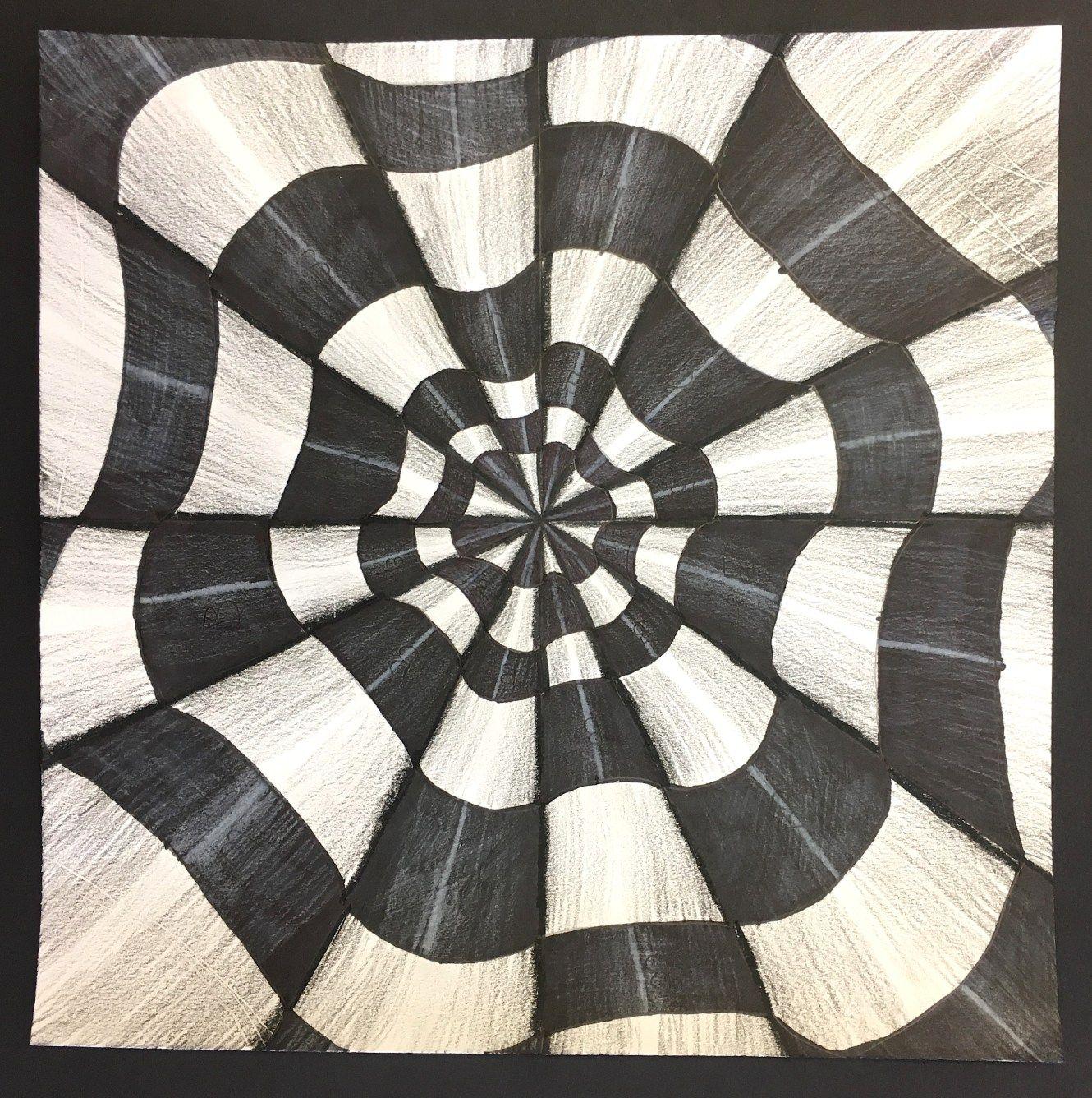 Op Art 3d Paper Cone Drawings 5th Grade