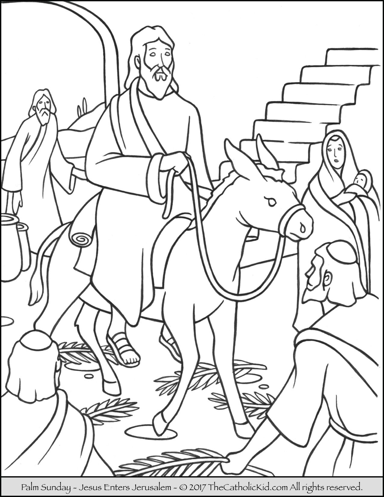 Jesus enters Jerusalem in this Palm Sunday coloring page. | Catholic ...