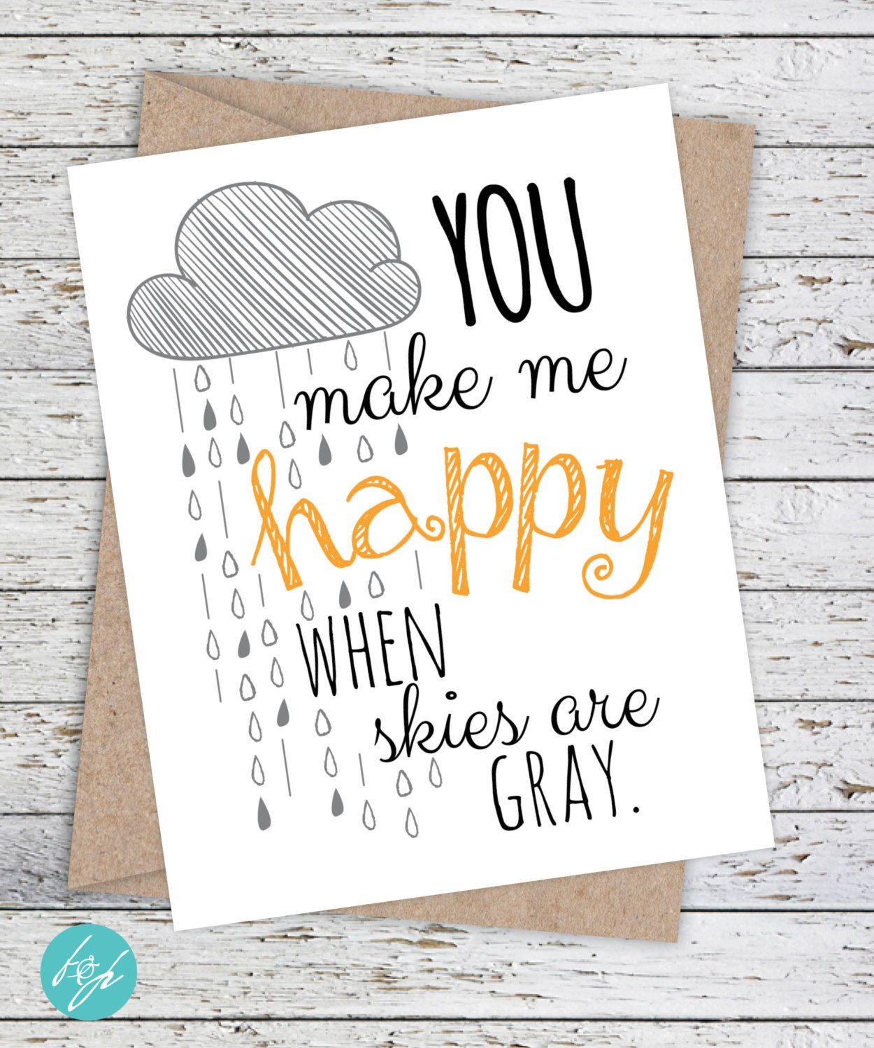 How to make scrapbook for girlfriend - Boyfriend Card Girlfriend Card Just Because Thinking Of You Card You Make Me Happy When Skies Are Gray