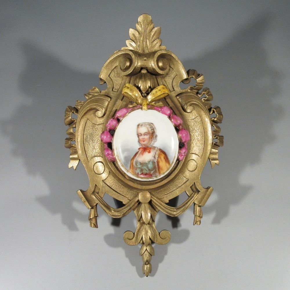Antique French Hand Painted Miniature Lady Portrait on Porcelain, Wooden Frame