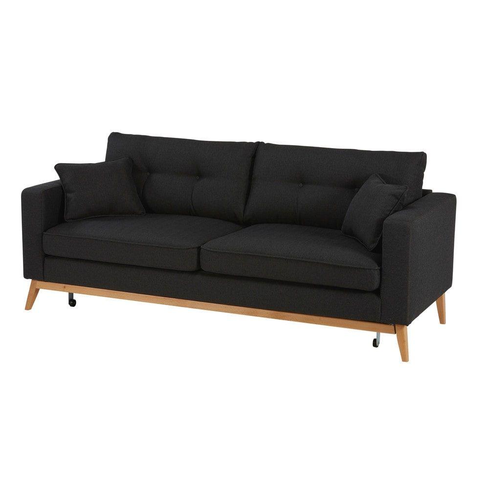 Scandinavian 3 Seater Light Grey Fabric Sofa Bed Maisons Du