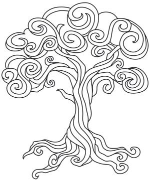 Baroque Natura Tree Tree Coloring Page Coloring Pages Paper Embroidery