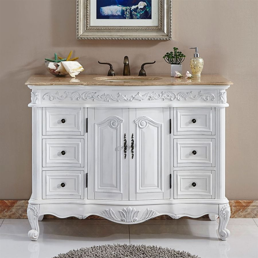 Silkroad Exclusive Ella Antique White Single Sink Vanity With Travertine Top Common 48 In X 22 In Lowes Com Single Sink Bathroom Vanity Bathroom Vanity Single Bathroom Vanity