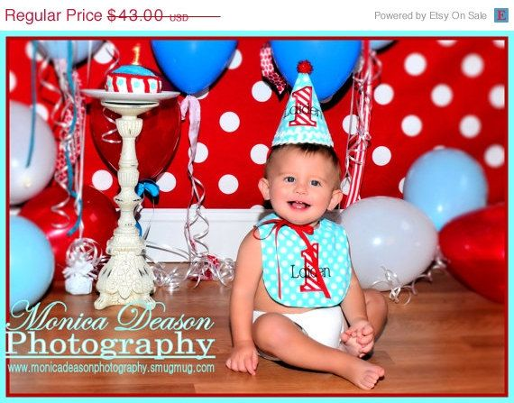 ON SALE Boys 1st Birthday Party Hat And Bib By DaintyCouture 4000