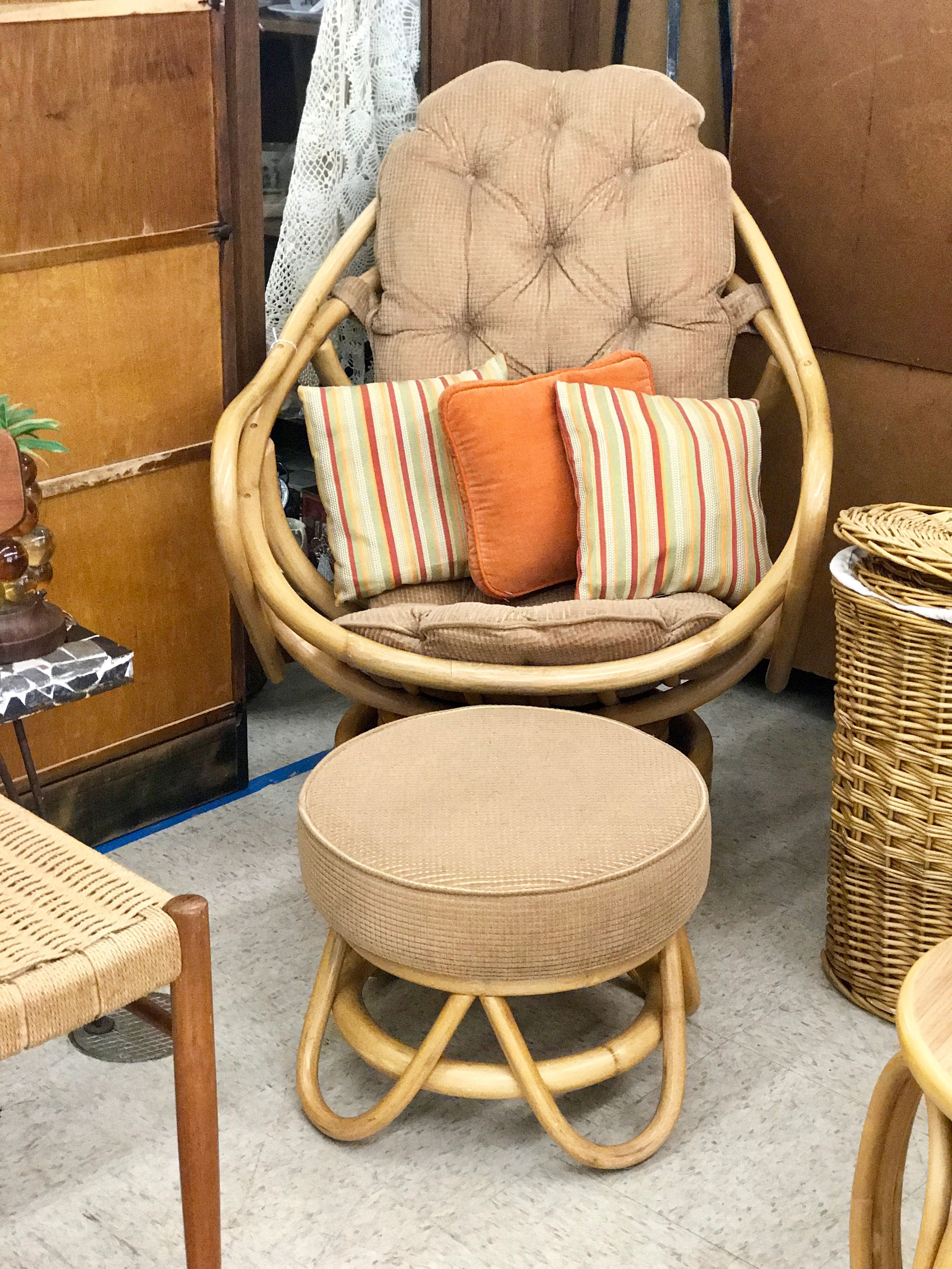 Bamboo Swivel Egg Chair Table and Ottoman $225 Dealer #81 Top Drawer Antiques u0026 & Bamboo Swivel Egg Chair Table and Ottoman $225 Dealer #81 Top ...