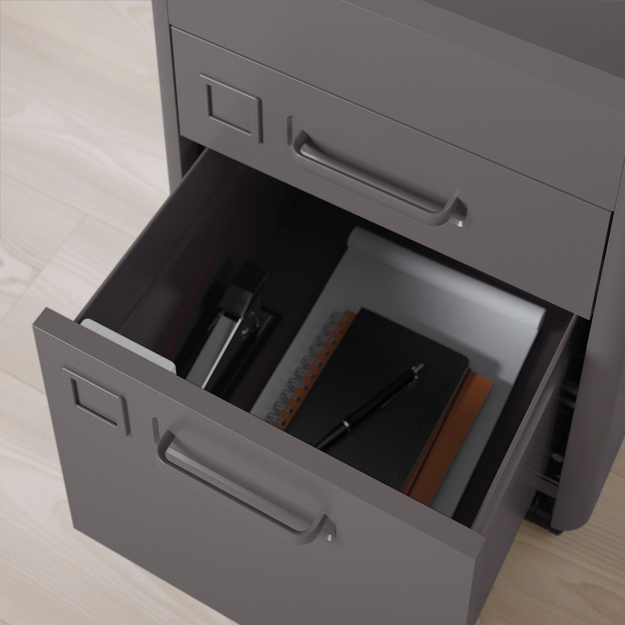 IDÅSEN Drawer unit with smart lock dark gray 16 1/2x24