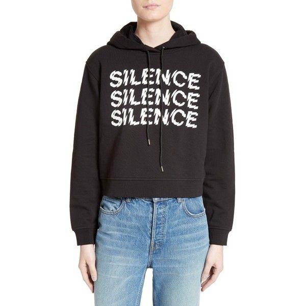 447b96b2 Women's Mcq Alexander Mcqueen Graphic Crop Hoodie ($310) ❤ liked on  Polyvore featuring tops, hoodies, darkest black, cut-out crop tops, hoodie  crop top, ...