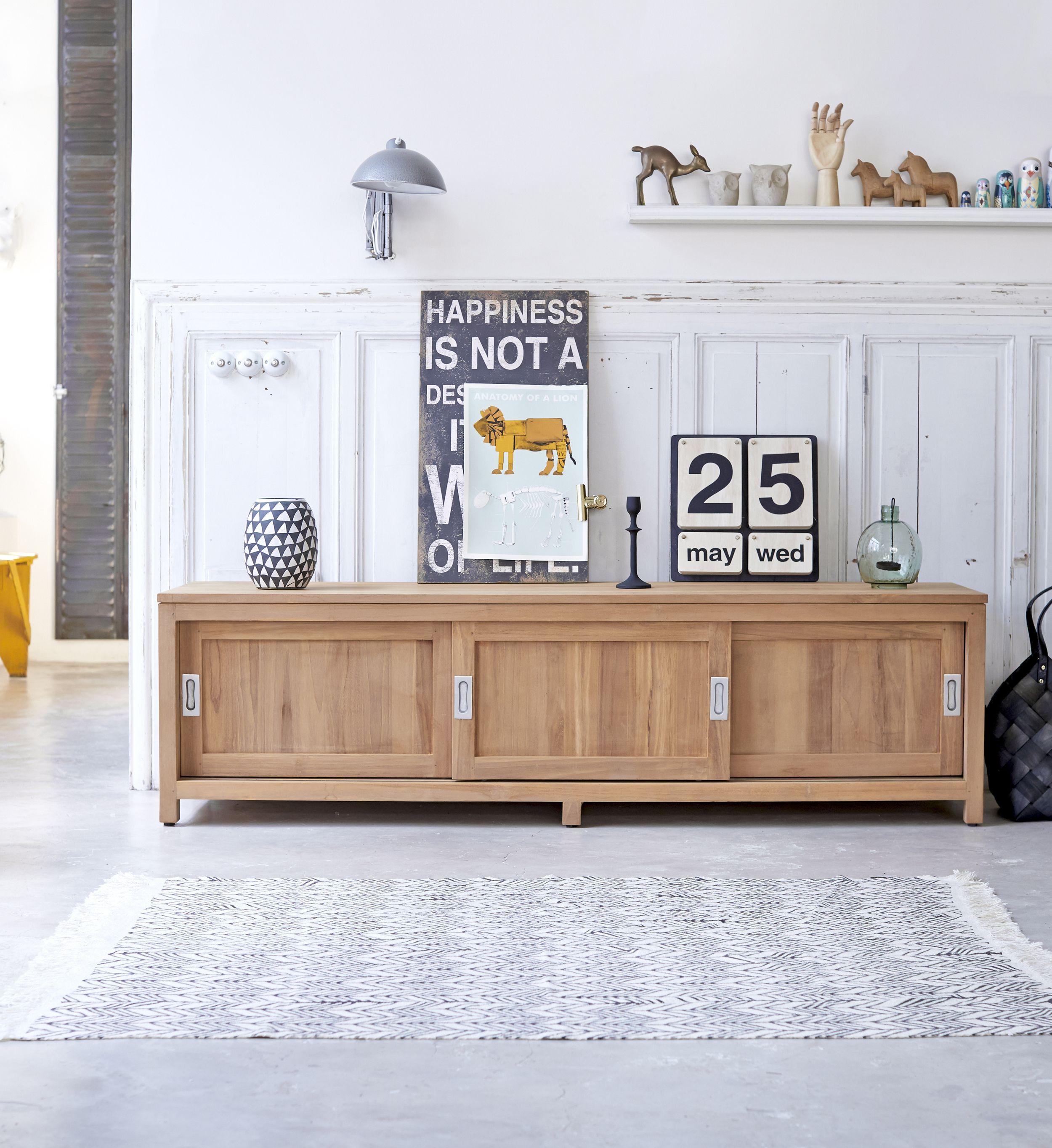 Coffee Tek Slide Teak Tv Stand 180 Raw Wood Furniture Furniture