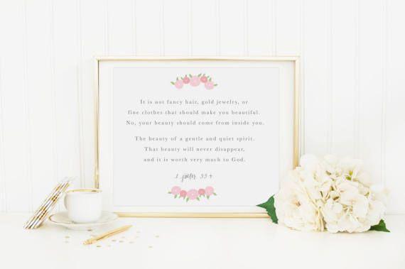 Beauty Scripture Print 1 Peter 3:3-4 Baby Girl Nursery Wall