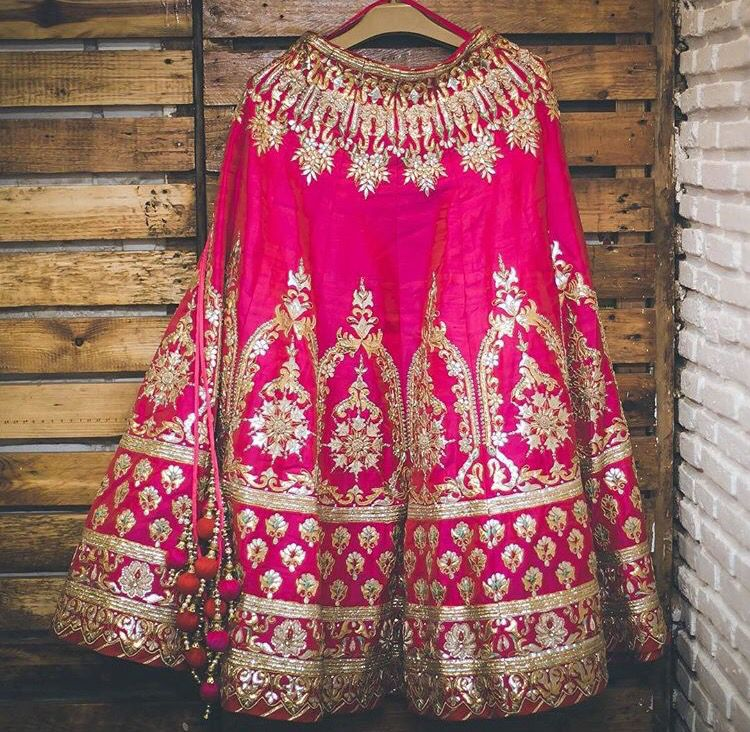 Hot pink + gold bridal lengha | Chaniya Choli | Pinterest