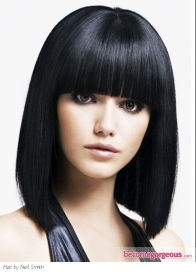Medium Graphic Bob Hair Style Super Sleek Look Perked Up With A