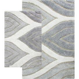Piece Davenport Bath Mat Set In Grey Decorating Ideas - Black cotton bath mat for bathroom decorating ideas