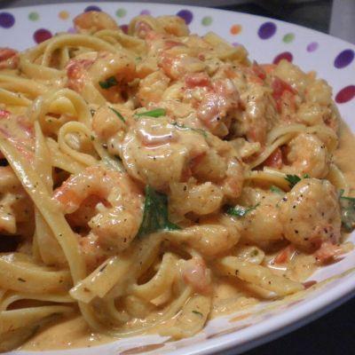Shrimp And Pasta In A Tomato Chile Cream Sauce Recipe