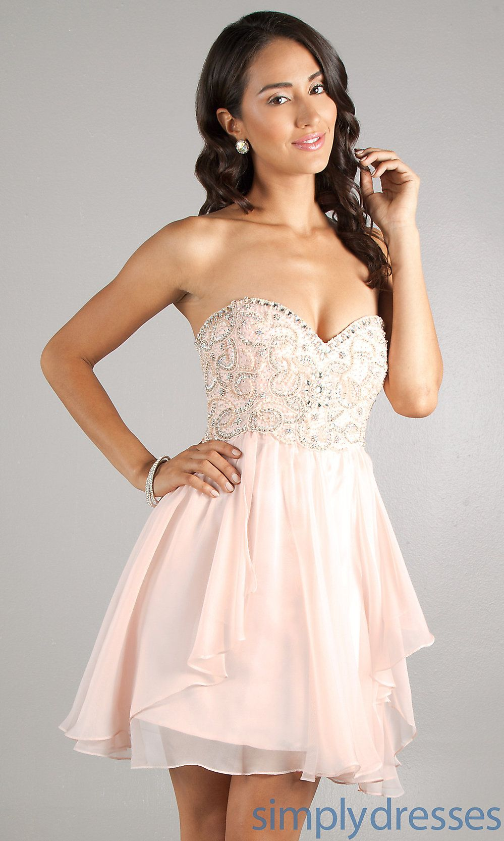 Strapless Party Dress, Babydoll Short Prom Dress - Simply Dresses ...