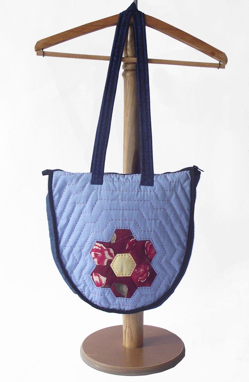 Honeycomb HandBag-Christmas HandBag-Patchwork Bag-Handmade Tote Bag-Blue HandBag-Colorful HandBag-Christmas Gift-Quilted HandBag by duduhandmade on Etsy