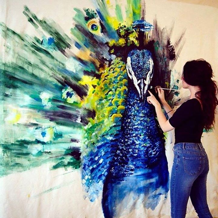 50 beautiful bird paintings and art works for your for Mural inspiration