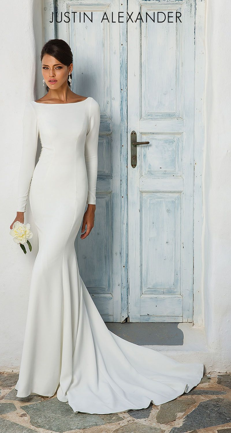 Style 8936 Crepe Long Sleeve Wedding Dress With Beaded Illusion Back Justin Alexander Cowl Back Wedding Dress Sleek Wedding Dress Wedding Dress Silhouette