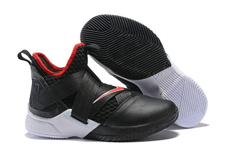 "8d940a0d5364 2018 Nike LeBron Soldier 12 ""Bred"" Black University Red-White Men s ..."