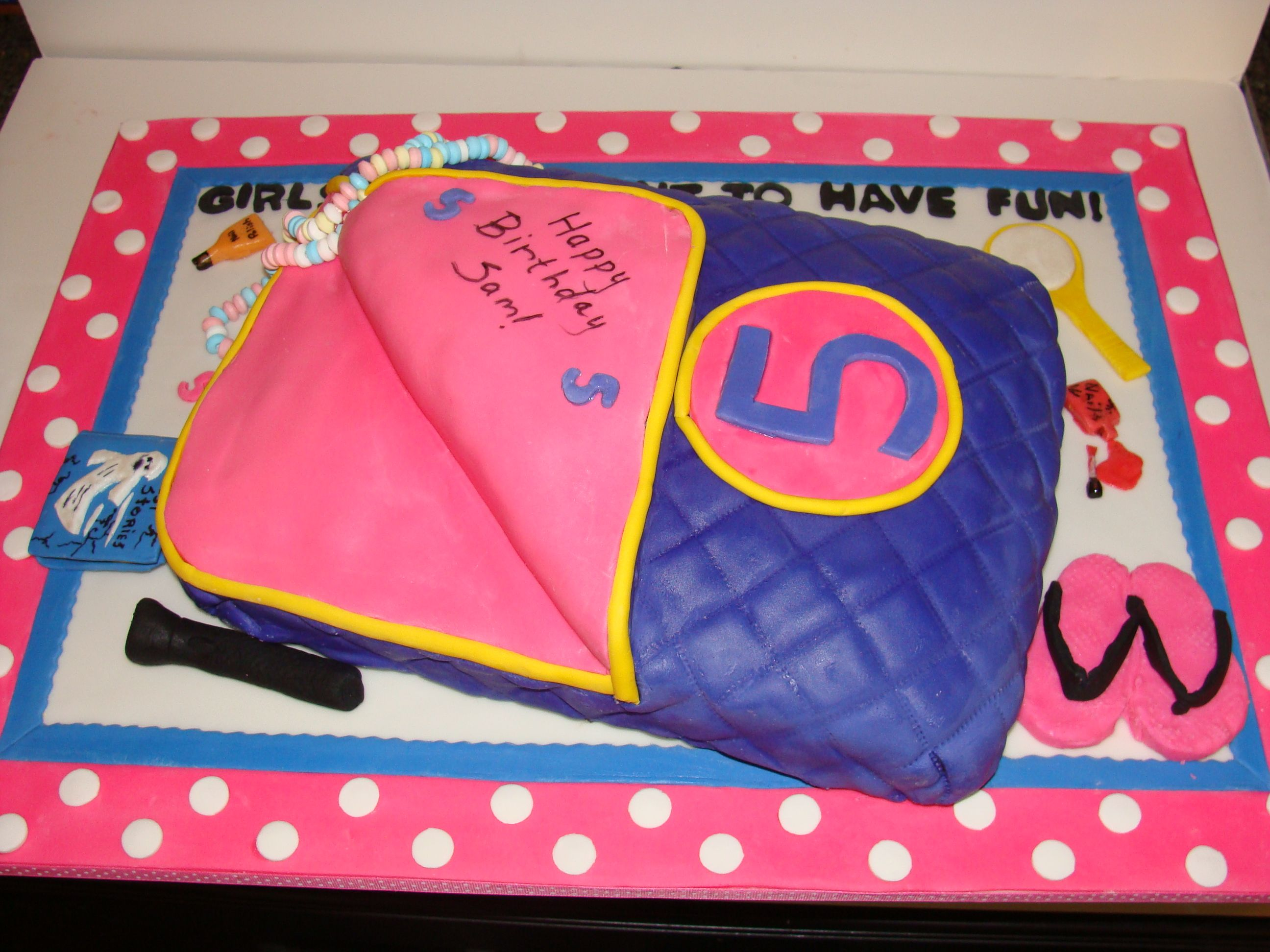Slumber Party Cake Sleeping Bag Cake For A 5 Yr Old Slumber Party