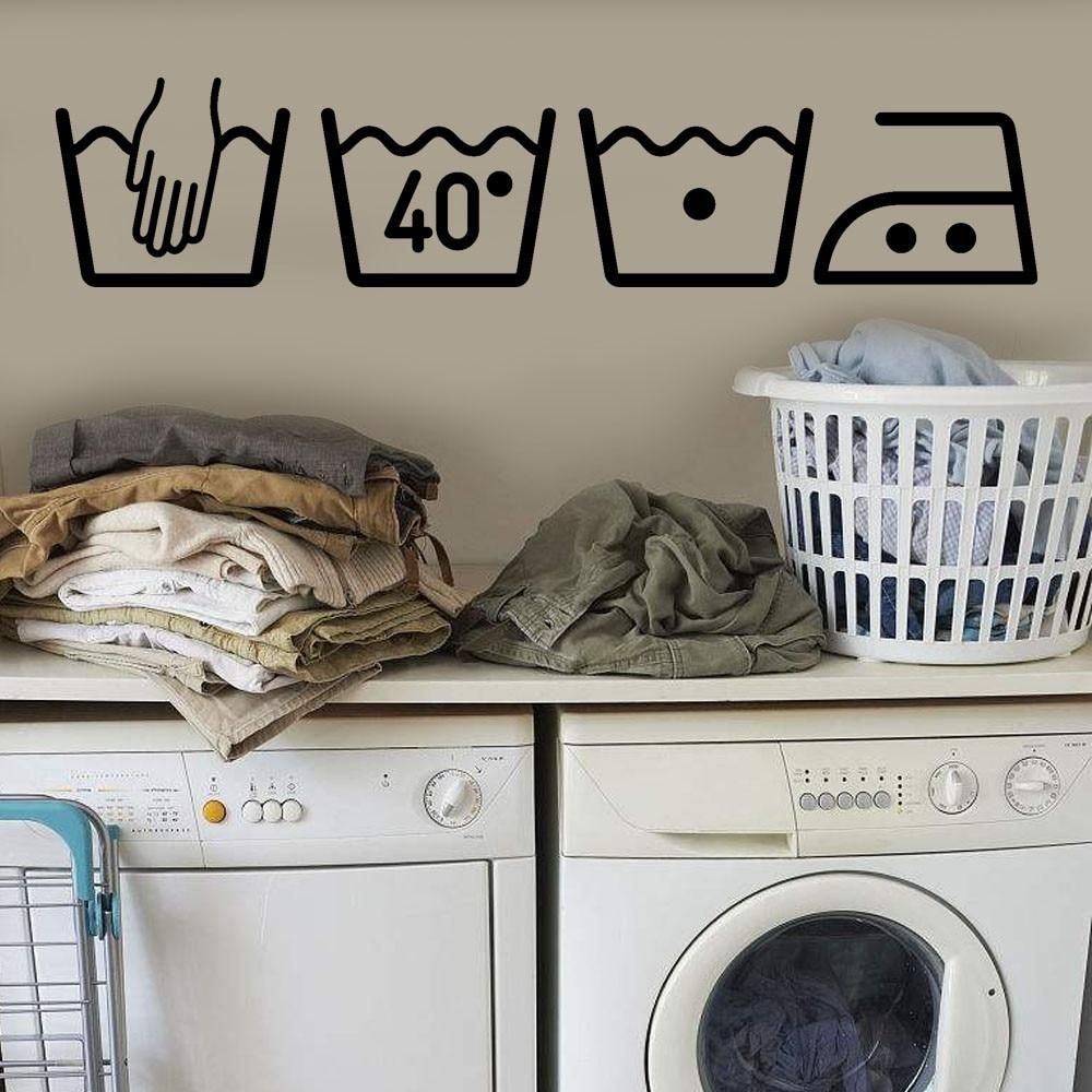 Washing Machine Home Decor Laundry Room Decoration Removable Art Wall Sticker Vinyl Mural With Images Wall Stickers Laundry Room Laundry Room Wallpaper Laundry Room Decor
