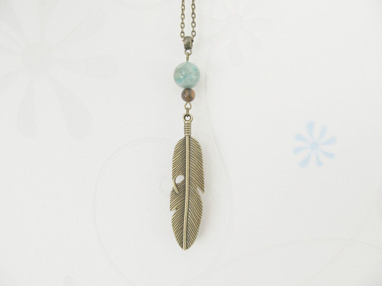 Feather necklace, amazonite necklace, boho necklace, bronze jewelry by ShopYvonne on Etsy https://www.etsy.com/listing/509682565/feather-necklace-amazonite-necklace-boho