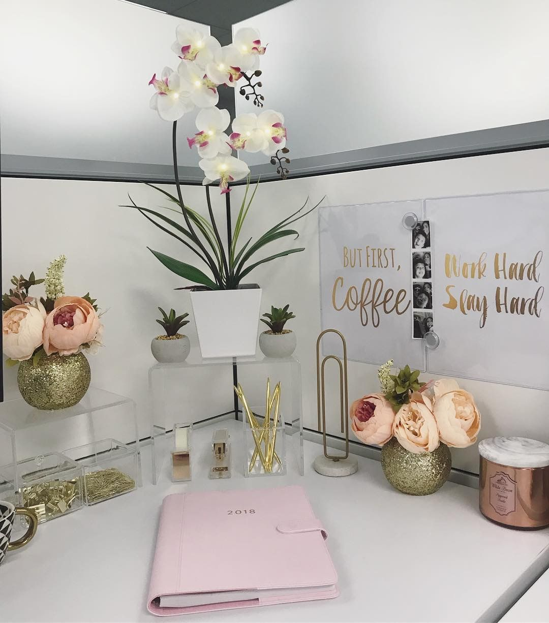 Cubicle desk decor - gold, pink, clear! -   22 desk decor shelves
