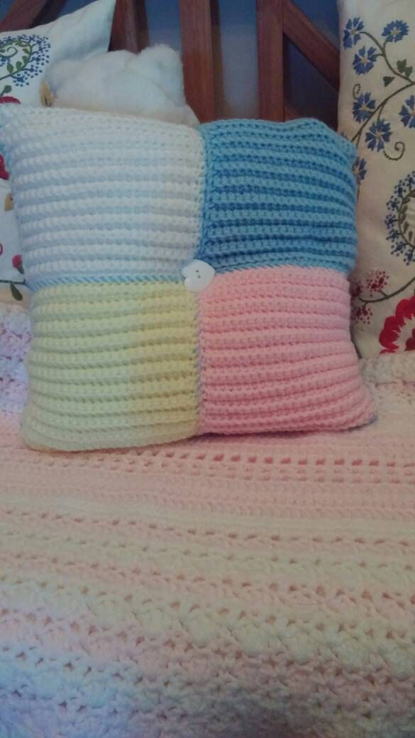 c9000840cdb Cable handknit square pillow with heart button